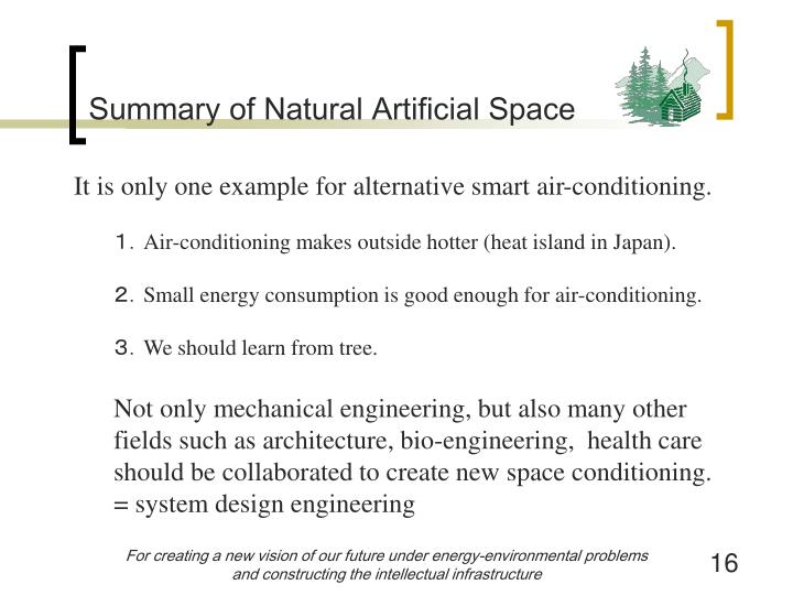 Summary of Natural Artificial Space