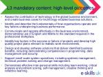 l3 mandatory content high level outcomes