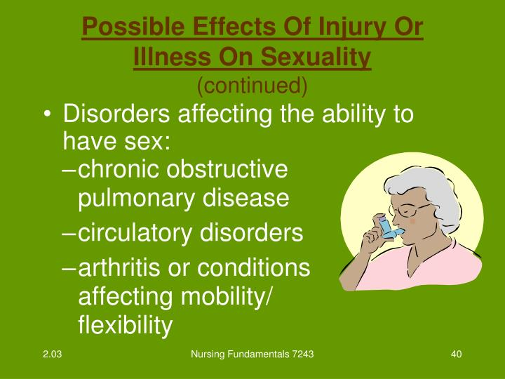 Disorders affecting the ability to have sex: