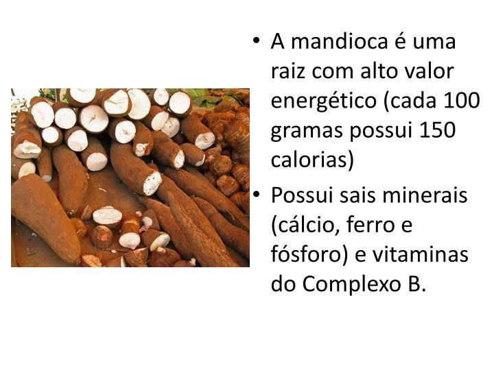 A mandioca é uma raiz com alto valor energético (cada 100 gramas possui 150 calorias)