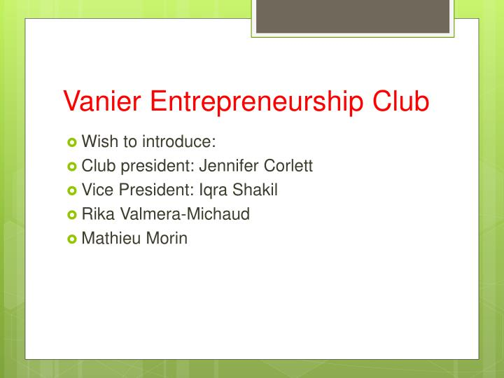 Vanier entrepreneurship club