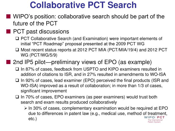 WIPO's position: collaborative search should be part of the future of the PCT