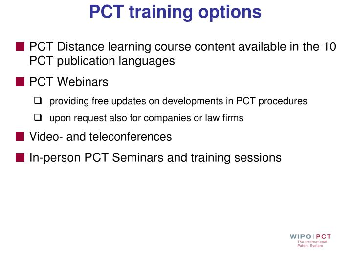 PCT training options