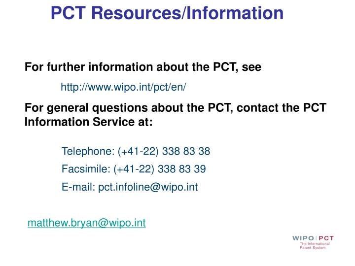 PCT Resources/Information