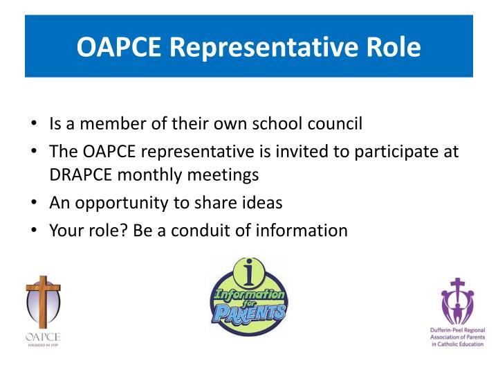OAPCE Representative Role