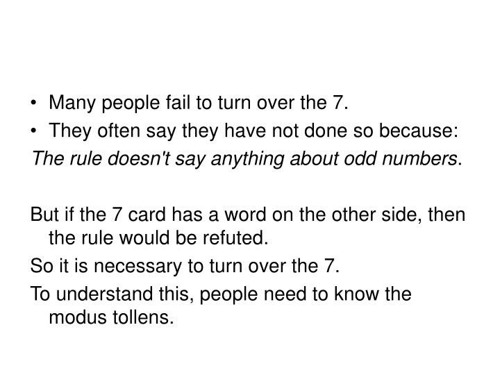 Many people fail to turn over the 7.