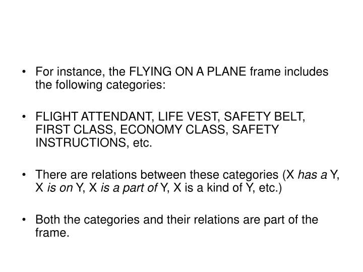 For instance, the FLYING ON A PLANE frame includes the following categories: