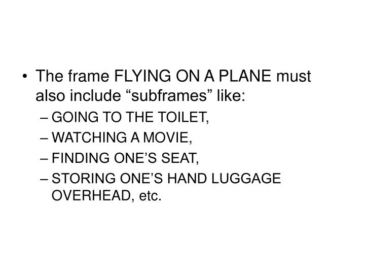 "The frame FLYING ON A PLANE must also include ""subframes"" like:"