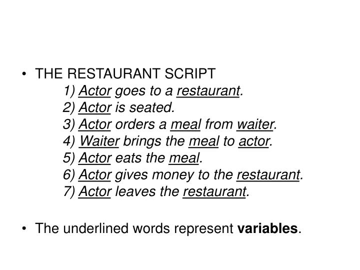 THE RESTAURANT SCRIPT