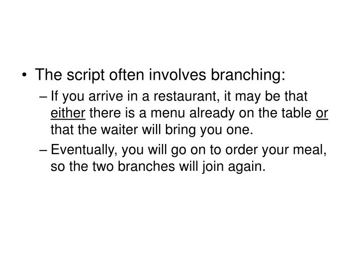 The script often involves branching: