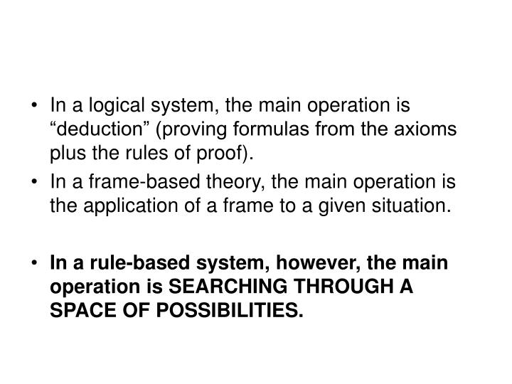"In a logical system, the main operation is ""deduction"" (proving formulas from the axioms plus the rules of proof)."