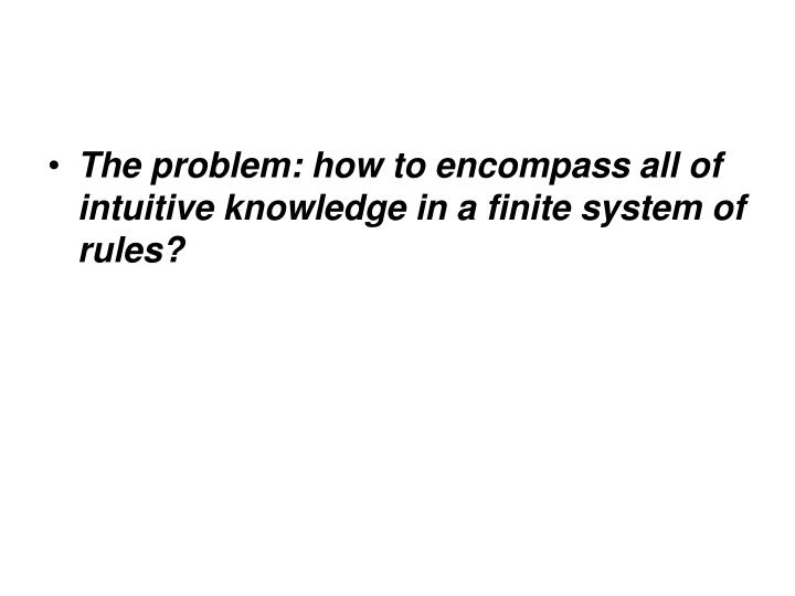 The problem: how to encompass all of intuitive knowledge in a finite system of rules?