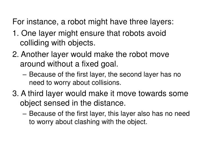 For instance, a robot might have three layers: