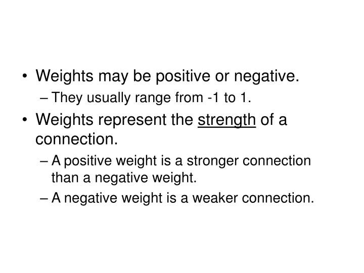 Weights may be positive or negative.