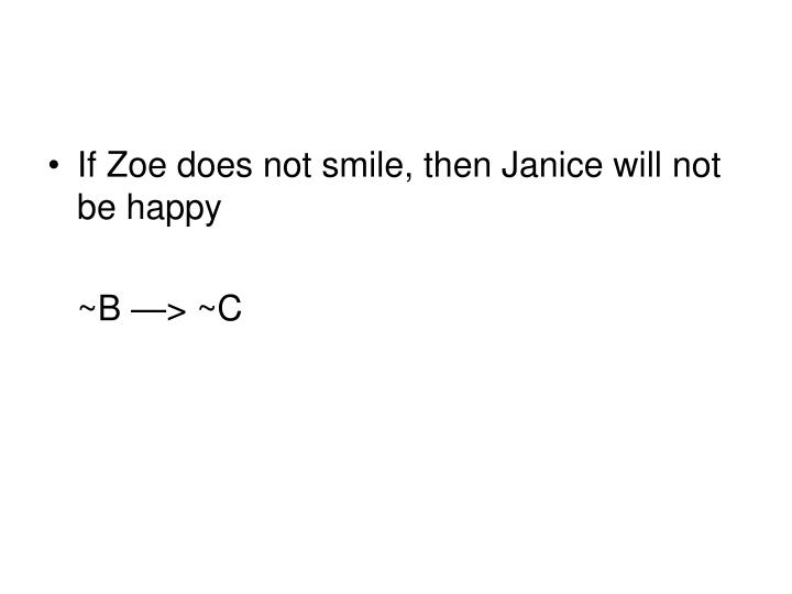 If Zoe does not smile, then Janice will not be happy