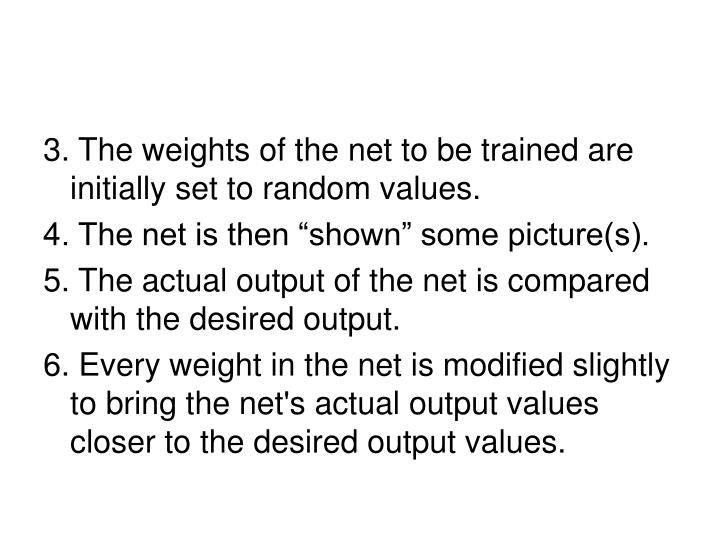 3. The weights of the net to be trained are initially set to random values.