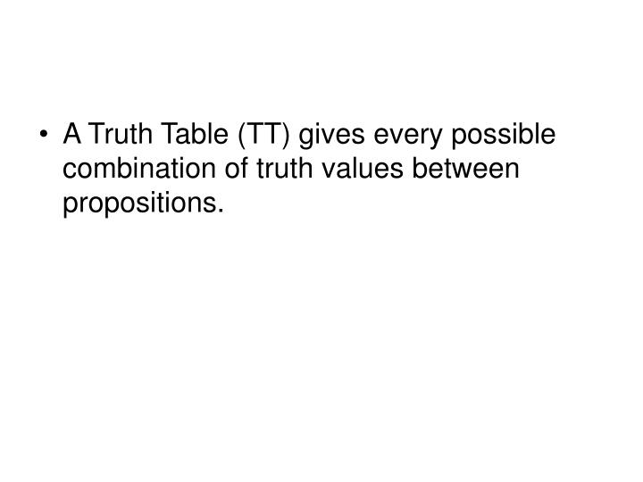 A Truth Table (TT) gives every possible combination of truth values between propositions.