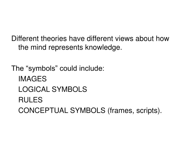 Different theories have different views about how the mind represents knowledge.