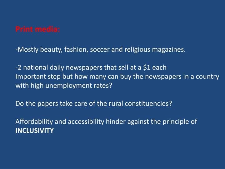 Print media: