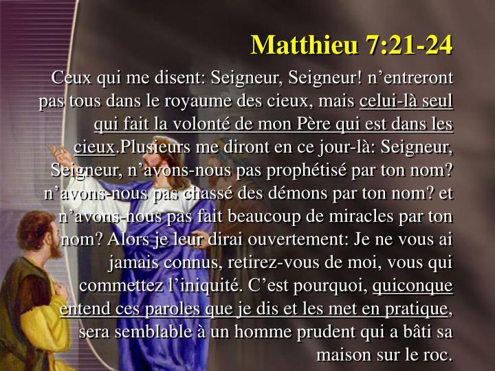Matthieu 7:21-24