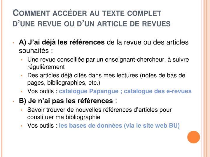 Comment accéder au texte complet d'une revue ou d'un article de revues