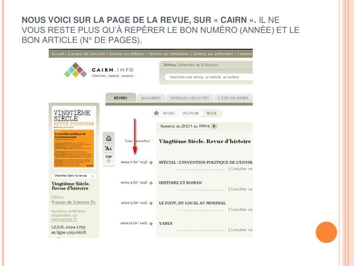 NOUS VOICI SUR LA PAGE DE LA REVUE, SUR « CAIRN ».