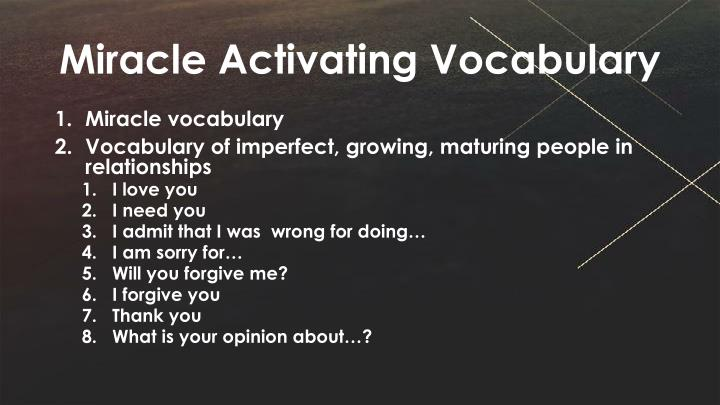 Miracle Activating Vocabulary