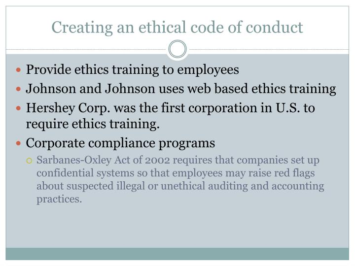Creating an ethical code of conduct
