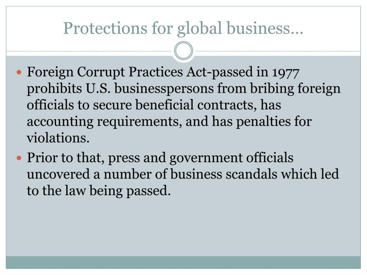Protections for global business…