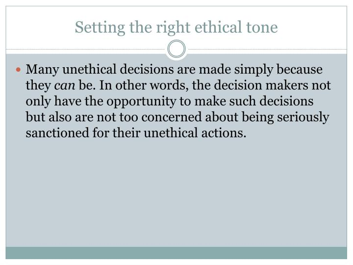 Setting the right ethical tone