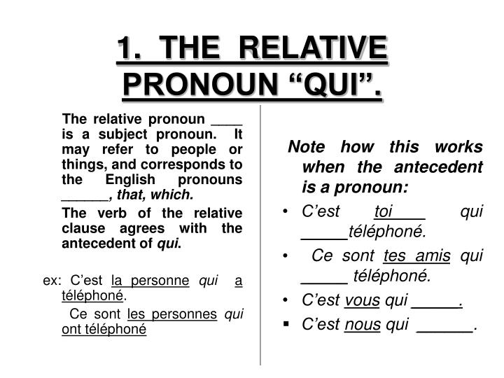 1 the relative pronoun qui