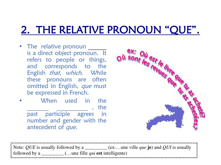 2 the relative pronoun que