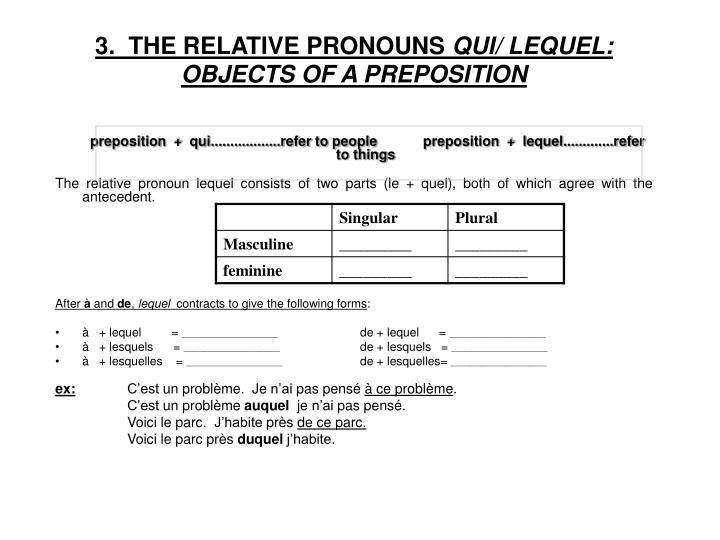 3.  THE RELATIVE PRONOUNS