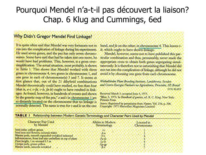 Pourquoi Mendel n'a-t-il pas découvert la liaison? Chap. 6 Klug and Cummings, 6ed