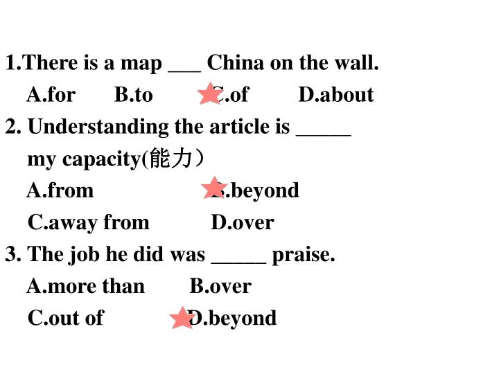 1.There is a map ___ China on the wall.