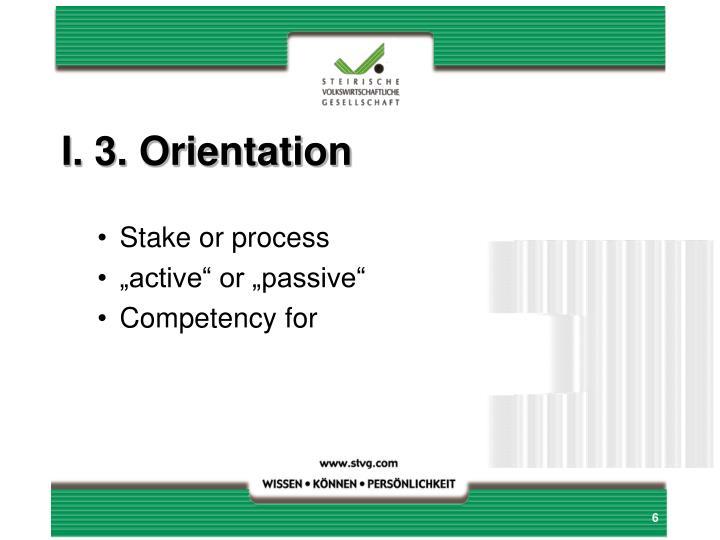I. 3. Orientation