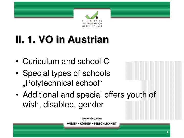 II. 1. VO in Austrian