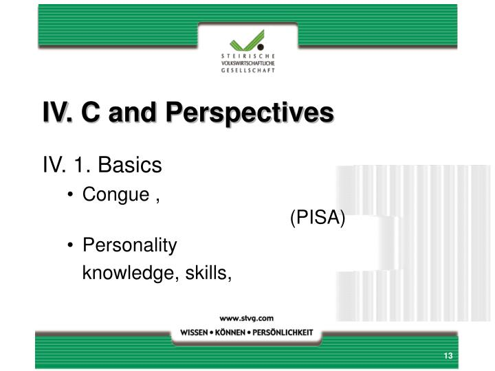 IV. C and Perspectives