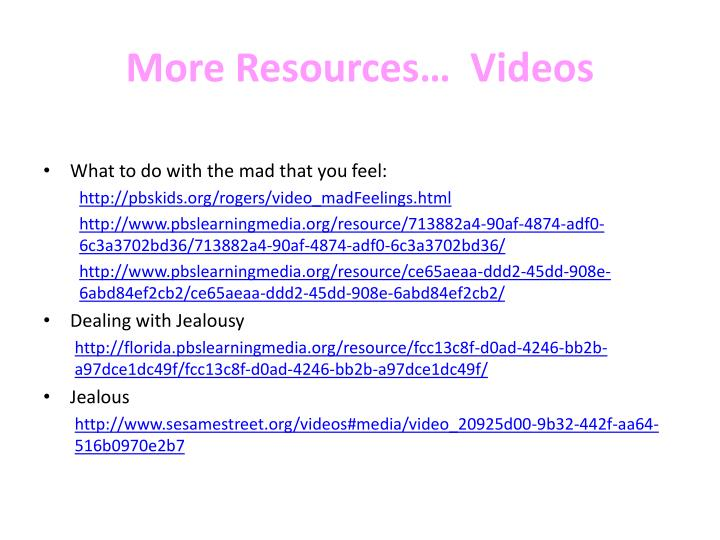 More Resources…  Videos