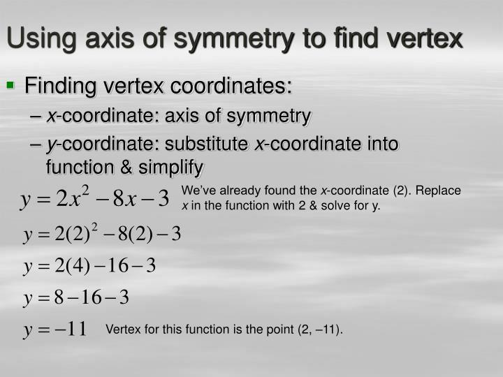 Using axis of symmetry to find vertex