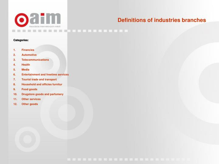 Definitions of industries branches