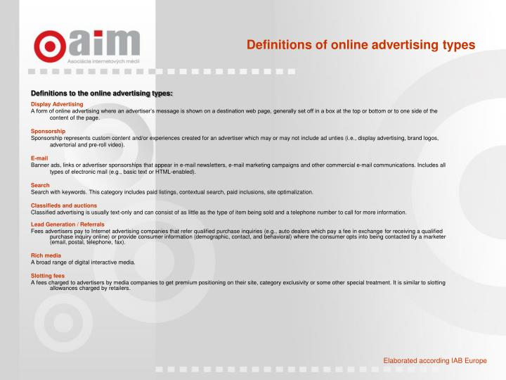 Definitions of online advertising types