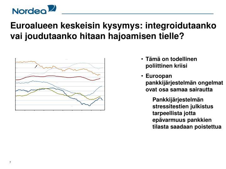 Euroalueen keskeisin kysymys: integroidutaanko vai joudutaanko hitaan hajoamisen tielle?