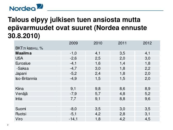 Talous elpyy julkisen tuen ansiosta mutta epävarmuudet ovat suuret (Nordea ennuste 30.8.2010)