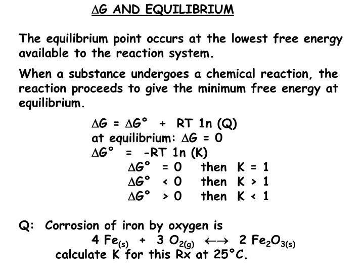G AND EQUILIBRIUM