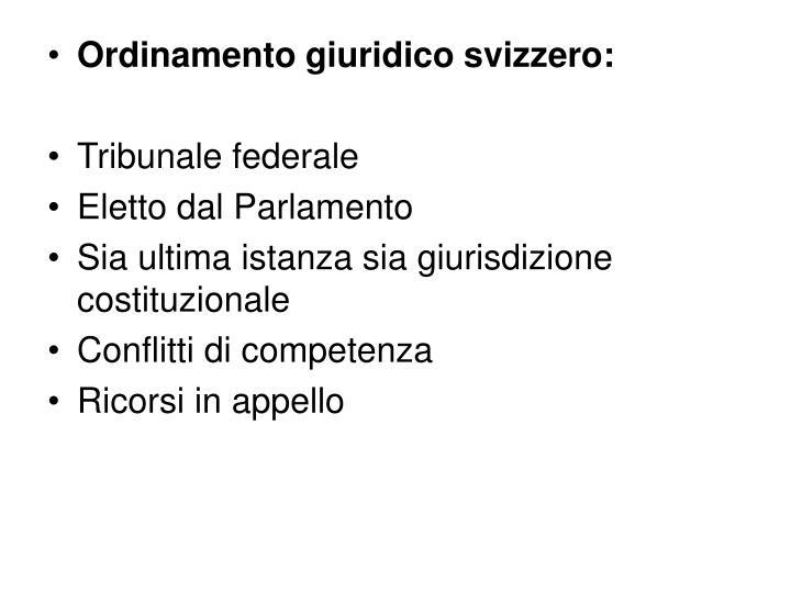 Ordinamento giuridico svizzero: