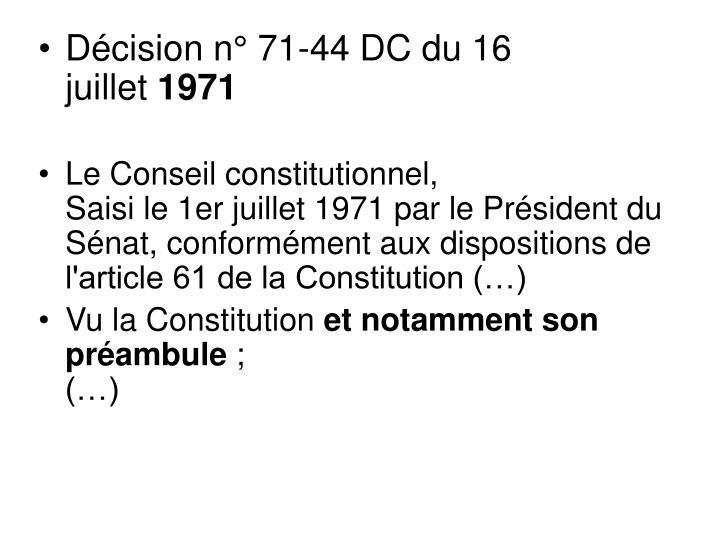 Décision n° 71-44 DC du 16 juillet