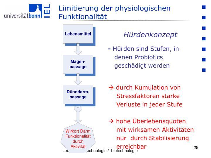 Limitierung der physiologischen   Funktionalität