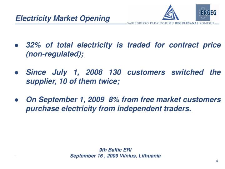 Electricity Market Opening