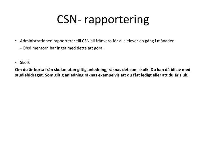 CSN- rapportering